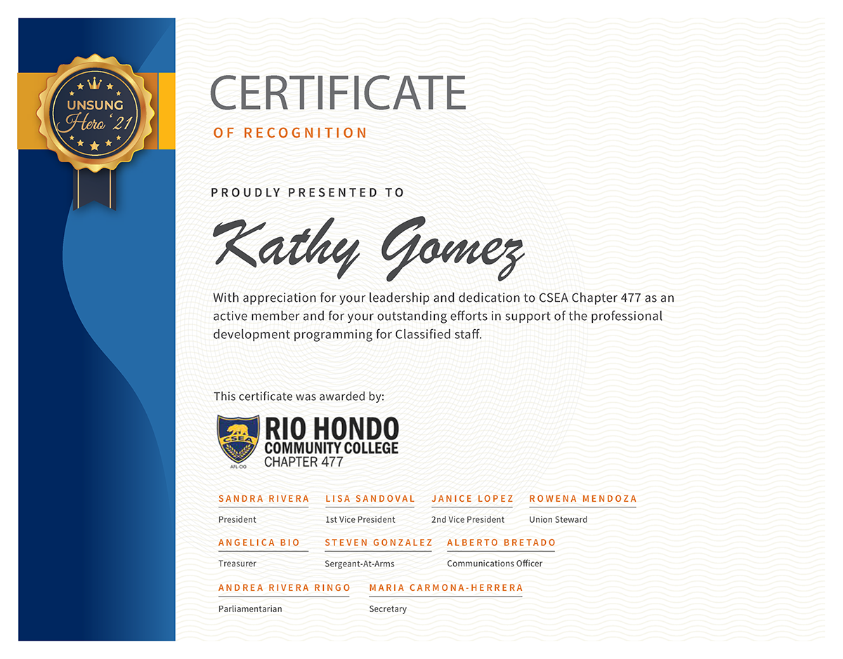 Unsung Hero Certificate Kathy Gomez